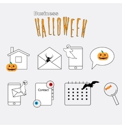 Thin lines web icons set Halloween theme vector image
