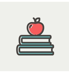 Three books with apple on the top thin line icon vector