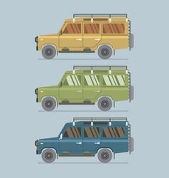 Three different colors of jeep vector
