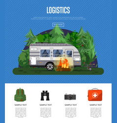 Travel logistics poster with camping trailer vector