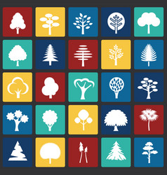 Trees icon set on color squares background for vector