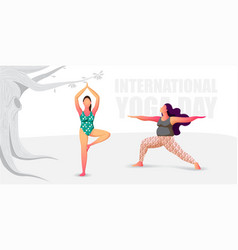 Two girls doing yoga exercises in nature vector