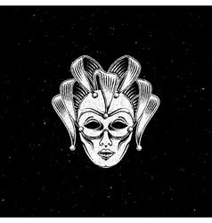 venetian carnival mask or jester emblem vector image