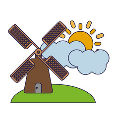 Windmill on nature with cloud and sun vector