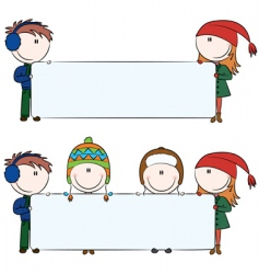 winter kids with blank banners vector image