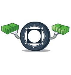 With money byteball bytes coin mascot cartoon vector