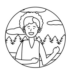 woman portrait avatar round icon black and white vector image