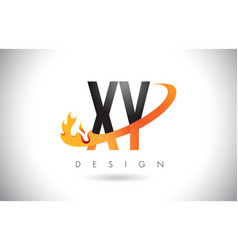 Xy x y letter logo with fire flames design and vector