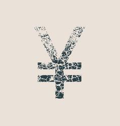 Yen symbol grunge style icon vector