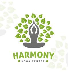 Yoga tree logo concept harmony insignia vector
