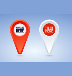 You are here map pins in two vector