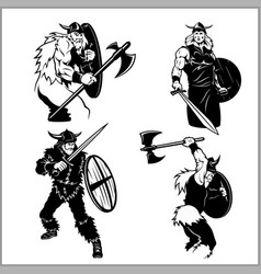 fighting vikings set vector image