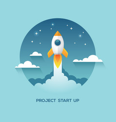 With rocket in the sky vector