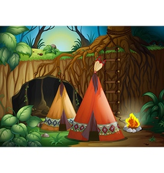 A tent in nature vector image vector image