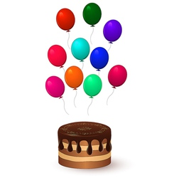 chocolate cake and balloons vector image