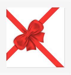gift card with luxury red bow decorative gift bow vector image vector image