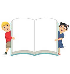 Of Cute Children Holding Book vector image