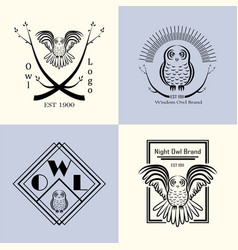 owl badge set vector image vector image