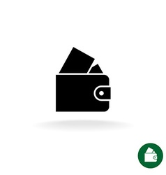 Purse black simple icon with full of money vector image