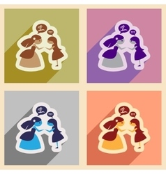 Set of flat web icons with long shadow bride vector image