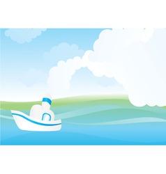 white sea boat vector image