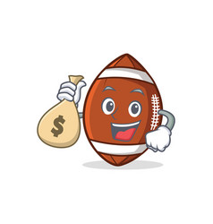 american football character cartoon with money bag vector image vector image