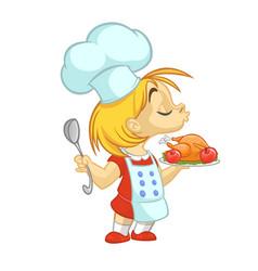 cartoon girl preparing turkey vector image