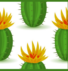 cute cactus with flower vector image vector image