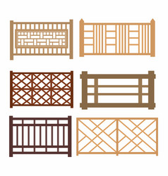 set of wood fences vector image vector image