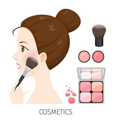 woman with hair bun make-up rouge and brush vector image vector image