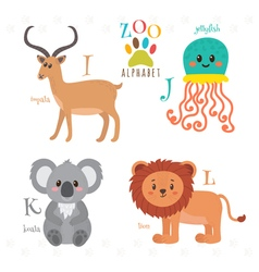 Zoo alphabet with funny cartoon animals I j k l vector image vector image