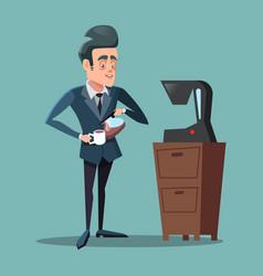 cartoon businessman making coffee work break vector image