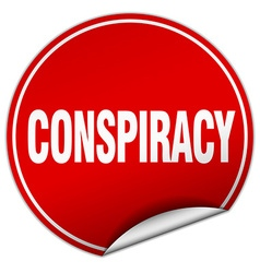 Conspiracy round red sticker isolated on white vector