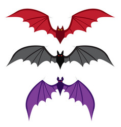 set of bat with big wings in color in flat style vector image