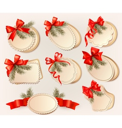 Set of christmas gift cards with red gift bows vector image vector image