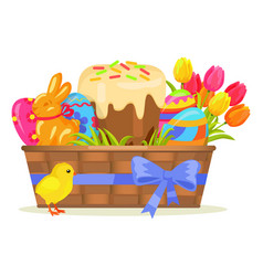 Sweet cake chocolate bunny color eggs on easter vector