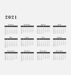 2021 year calendar horizontal design vector image