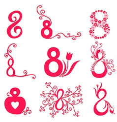 8 decorative magenta vector image