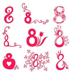 8 decorative magenta vector