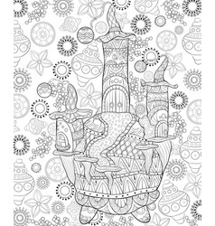 adult coloring bookpage a christmas castle on the vector image