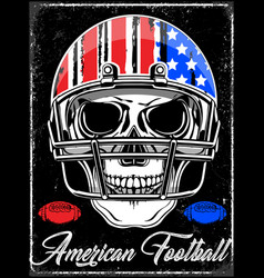 american football skull varsity t shirt graphics vector image