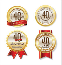 anniversary retro vintage golden labels vector image
