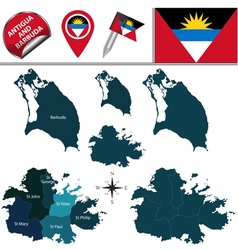 Antigua and Barbuda map with named divisions vector image