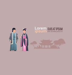 asian couple wearing traditional clothes man woman vector image