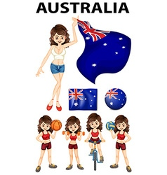 Australia flag and many sports vector image