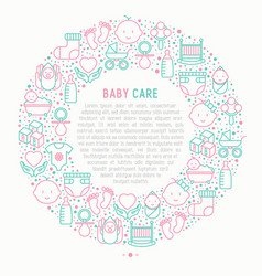 Baby care concept in circle vector