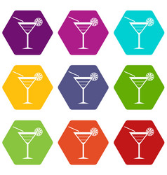 beach cocktail icon set color hexahedron vector image