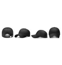 Black cap mockup realistic 3d style vector