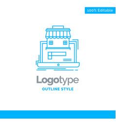Blue logo design for business marketplace vector