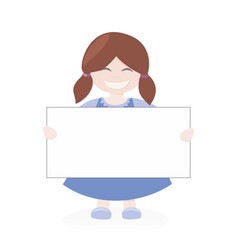 brown hair girl holding white empty banner vector image